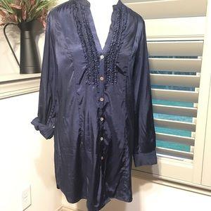 H&M Long Sleeve Navy Tunic Shirt Dress Size 14 EUC